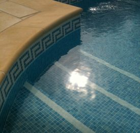 Outdoor liner swimming pool with roman end