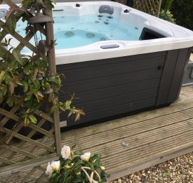 Garden hot tub on decking