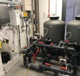 Commercial pool filter, dosing system, and pool pump